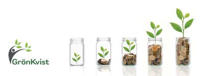 Fem burkar innehållande mynt och en planta. Ju fler mynt desto större planta.